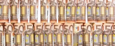 Fahne mit 50 Euroanmerkungen Stockfotos
