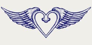 Fahne mit Flügeln Stockbild
