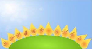 Fahne mit Frühlingsverkauf auf den Blumenblättern blühen stock abbildung