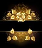 Fahne mit goldener Rose Stockfoto