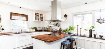 Fahne mit Kücheninnenraum Stockfoto