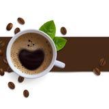 Fahne mit Kaffeetassen Stockfotografie