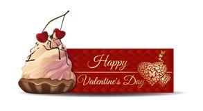 Fahne mit Kuchen für Valentinsgruß-Tag Lizenzfreie Stockbilder