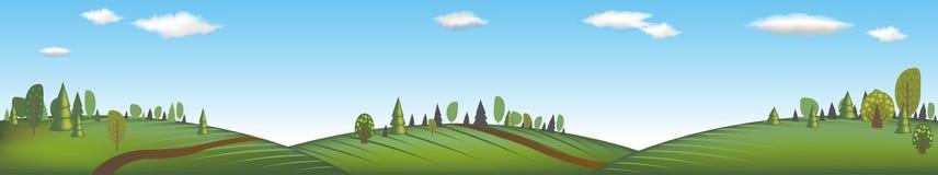 Fahne mit Landschaft lizenzfreie abbildung