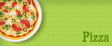 Fahne mit Pizza Stockfoto