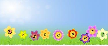 Fahne mit Rabatten auf den Blumen lizenzfreie abbildung