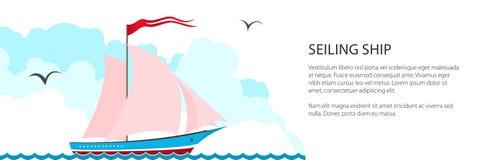 Fahne mit rosa Yacht lizenzfreie abbildung