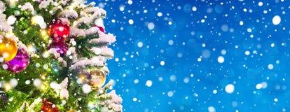Fahne mit schneebedecktem Weihnachten Lizenzfreie Stockfotografie