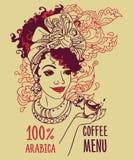Fahne mit schöner Afroamerikanerfrau und Kaffeetassen Stockfoto