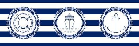 Fahne mit Seeemblemen stock abbildung