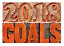 Fahne mit 2018 Zielen in der hölzernen Art Lizenzfreies Stockbild