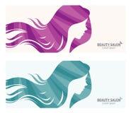 Fahne oder Visitenkarte stilisierten Frauenprofil für Schönheitssalon Lizenzfreies Stockfoto