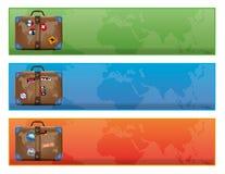 Fahne oder Zeichen mit Weltreisendkoffer Lizenzfreies Stockbild