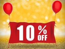 Fahne 10%off auf rotem Stoff mit roten Ballonen stock abbildung