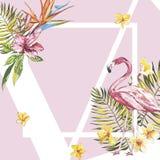 Fahne, Plakat mit Flamingo, Palmblätter, Dschungelblatt Tropischer Sommermit blumenhintergrund des schönen Vektors ENV 10 stock abbildung