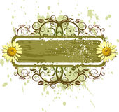 Fahne u. camomiles - Blumenverzierung auf grunge Hintergrund lizenzfreie abbildung
