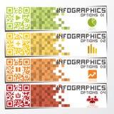 Fahne u. Hintergrund QR-Code-Geschäft Infographics Lizenzfreie Stockfotografie