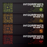 Fahne u. Hintergrund QR-Code-Geschäft Infographics Lizenzfreies Stockfoto