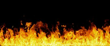 Fahne von orange Flammen auf Schwarzem Lizenzfreie Stockfotografie