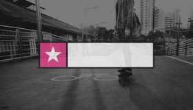 Fahne wird Knopf-Emblem-Grenzinsignien-Grafik-Konzept deutlich Stockfotos