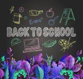 Fahne zurück zu Schule mit Blättern und Schulbedarf, wie einem Rucksack, einem Laptop, einer Kugel und anderen, gezeichneter Krei lizenzfreie abbildung