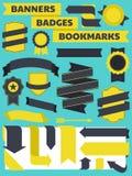 Fahnen, Abzeichen und Bookmark-Ansammlung Lizenzfreie Stockbilder