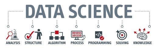 Fahnen-Datenwissenschaftskonzept mit Ikonen lizenzfreie abbildung
