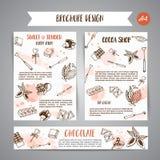 Fahnen der Schokoladenkakaoskizzen-Broschüre I Entwerfen Sie Menü für Restaurant, Shop, die Süßigkeiten, kulinarisch, Café, Cafet lizenzfreie abbildung
