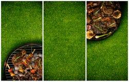 Fahnen des Frischfleisches und des Gemüses auf dem Grill gesetzt auf Gras Stockfotografie