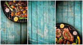 Fahnen des Frischfleisches und des Gemüses auf dem Grill gesetzt auf hölzernen pl Lizenzfreie Stockfotografie