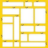 Fahnen des unbelegten Papiers getrennt auf gelbem Hintergrund Stockbilder