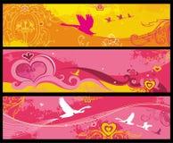 Fahnen des Valentinsgrußes lizenzfreie abbildung