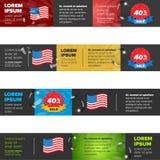 Fahnen eingestellt mit USA-Flagge Lizenzfreies Stockfoto