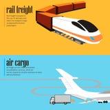 Fahnen eingestellt vom Schienen- und Lufttransport lizenzfreie abbildung