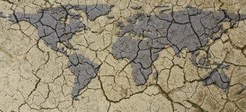 Fahnen-getrocknetes und geknacktes trockenes Erdkarten-Dürren-Konzept stockfotografie