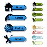 Fahnen - Haupt, Kontakt, Produkt, Service Lizenzfreies Stockfoto