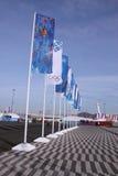 Fahnen im olympischen Park Lizenzfreies Stockfoto