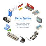 Fahnen-Karten-Kreis-isometrische Ansicht der Metro-Stations-3d Vektor Vektor Abbildung