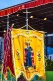 Fahnen am 13. Mai Mary Appearance Day Fatima Portugal Lizenzfreie Stockbilder