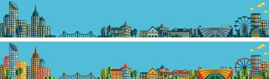 Fahnen mit dem Panorama der Stadt Lizenzfreies Stockbild