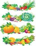 Fahnen mit Gemüse Stockfotos