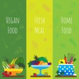 Fahnen mit Gemüse, Fruchtikonen für vegetarisches Restaurant, Hausmannskostmenü, organische Rezepte Stockbilder
