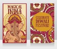 Fahnen mit Lord Ganesha und ethnischer Verzierung Stockfotografie
