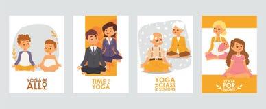 Fahnen mit meditierenden Charakteren der Karikatur der glücklichen Menschen für verschiedene Gelegenheiten, Klassen für Kinder, f vektor abbildung