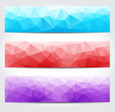 Fahnen mit mehrfarbigem polygonalem Geometrisches dreieckiges Abstr. Stockfotos