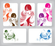 Fahnen mit stilvollem der schönen langen Haarfrau, Kartendesignschablone Lizenzfreies Stockfoto