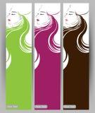 Fahnen mit stilvollem der schönen langen Haarfrau, Kartendesignschablone Stockfotos