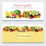 Fahnen mit verschiedener Frucht, Beere und Gemüse Lizenzfreie Stockfotos