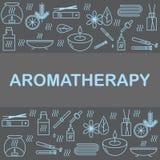Fahnen- oder Plakatikonenaromatherapie Symbole des Entspannung und des Badekurortes Stockbilder