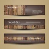 Fahnen-oder Titel-Designe mit Holzoberfläche Stockbilder
